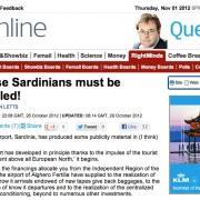 """""""Questi sardi devono essere ubriachi!"""". Il Daily Mail contro l'inglese maccheronico utilizzato all'aeroporto di Alghero!"""