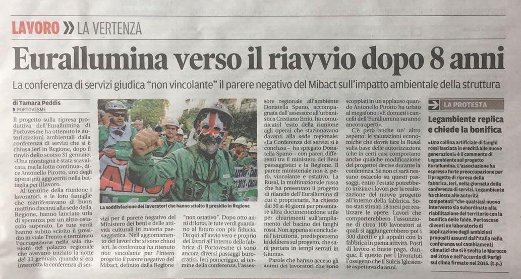 Eurallumina giornali